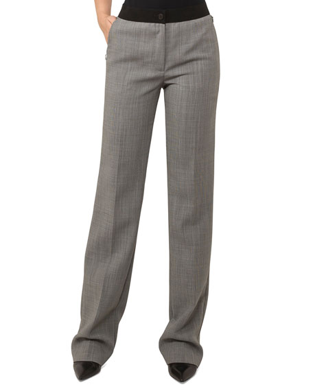Straight-Leg Wool-Blend Pants