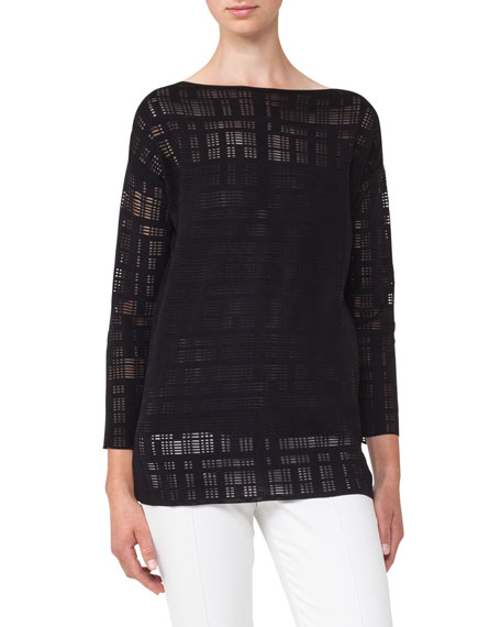 Square-Embroidered Tunic Top