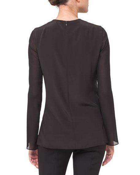 Sequined Tunic Split-Sleeve Top