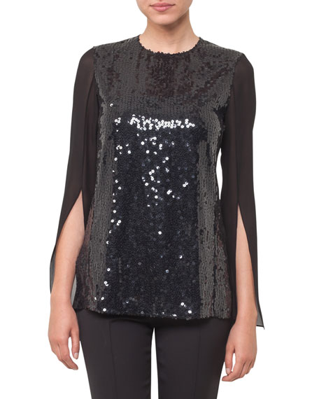Sequined Tunic Split-Sleeve Top