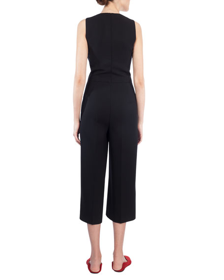 Sleeveless Cropped Wool Jumpsuit