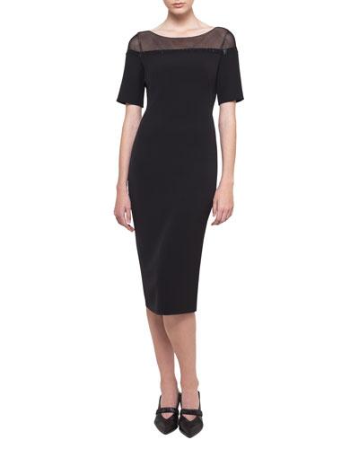 Short-Sleeve Illusion Crepe Dress