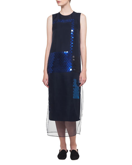 Sleeveless Ai Sequined Organza Dress