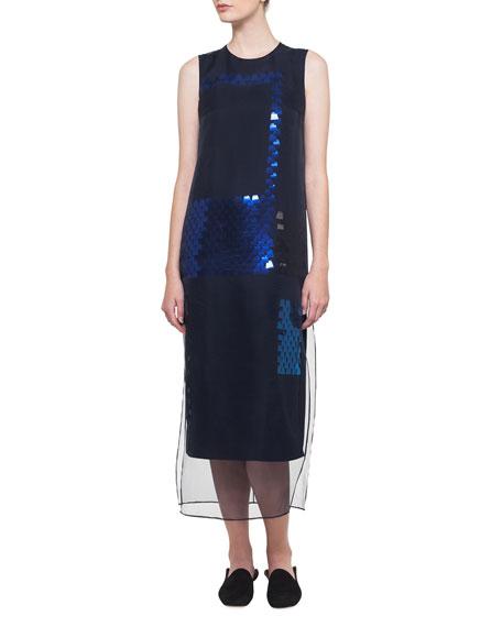 Sleeveless Ai Sequined Organza Dress