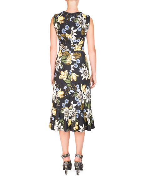 Sleeveless Floral Ruffle-Hem Dress