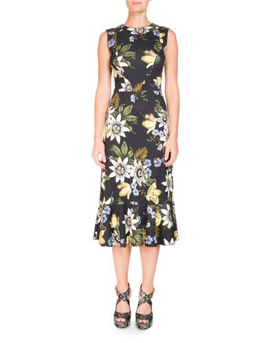 Sleeveless Floral Ruffle-Hem Dress