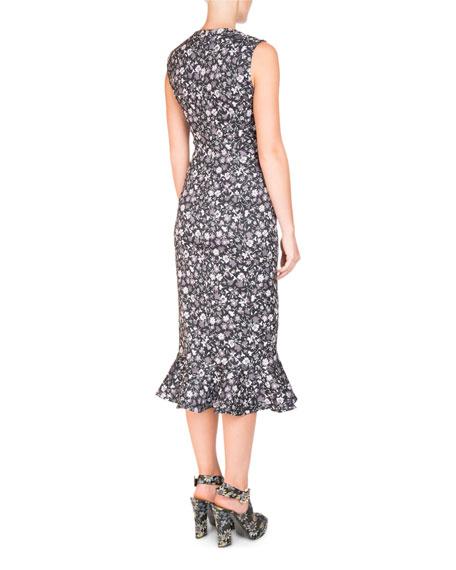 Sleeveless Fitted Flounce-Hem Dress