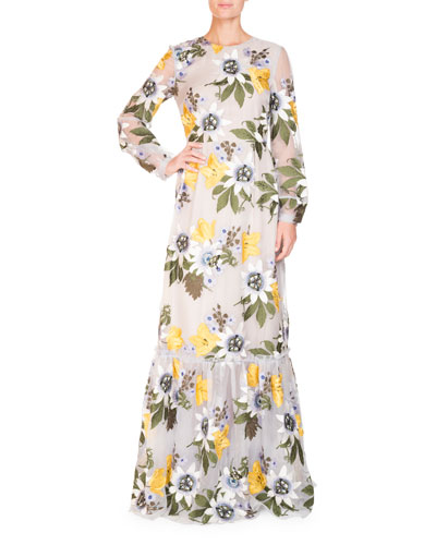 Ora Floral Long-Sleeve Gown