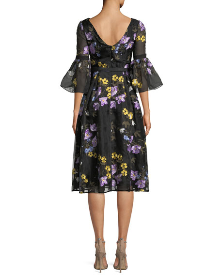 Alisa Floral-Embroidered V-Back A-Line Midi Dress