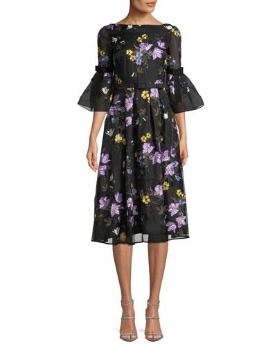 Alisa Floral-Embroidered V-Back A-Line Midi Dress