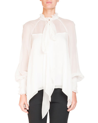 Isabelle Ruffled Tie-Neck Top