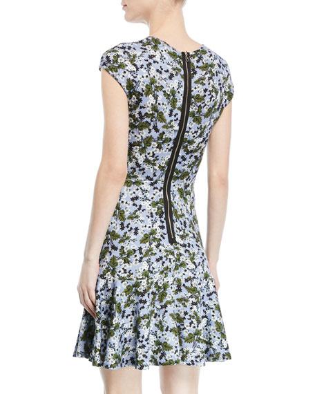 Carlina Floral Cap-Sleeve Dress