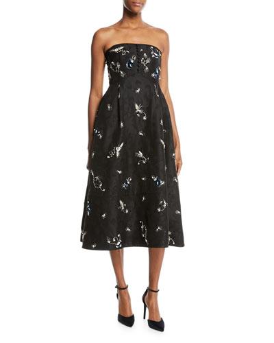 Yahia Strapless Midi Dress