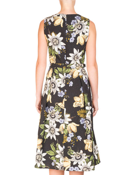 Sleeveless V-Neck Floral Dress