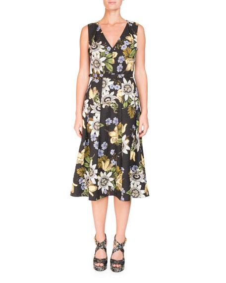 Sleeveless V-Neck Floral Dress