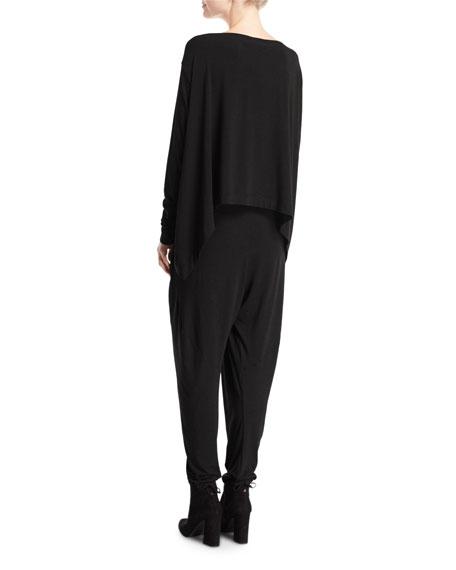 Long-Sleeve Jersey Sarong Jumpsuit