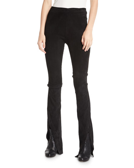 Waxed Suede Boot-Cut Pants
