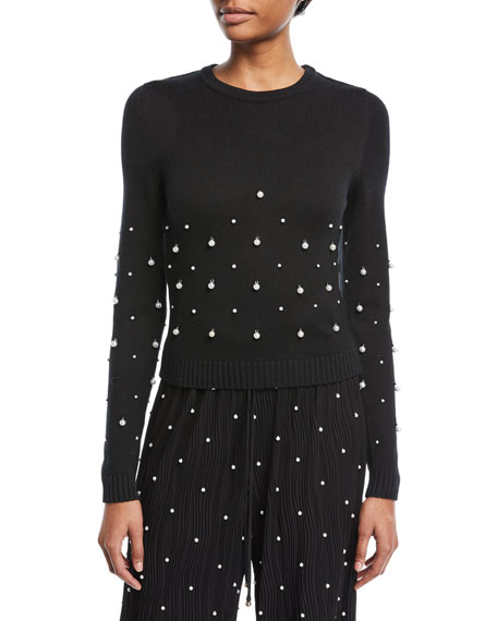 Crewneck Long-Sleeve Sweater with Pearlescent Embellishments