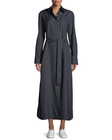Lira Collared Long Silk Shirtdress