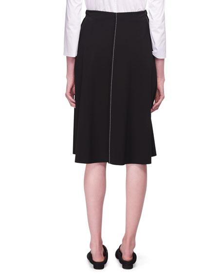 Chouli High-Waist A-line Knee-Length Skirt with Topstitching