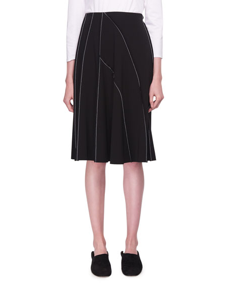 Chouli High-Waist A-line Knee-Length Skirt with Topstitching
