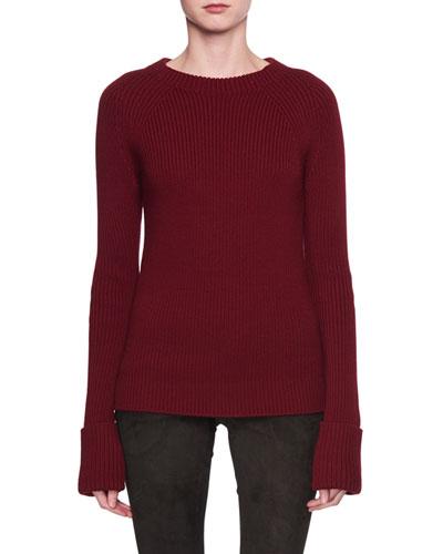 Sabra Crewneck Ribbed Wool Sweater