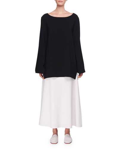 Sorel Bateau-Neck Long-Sleeve Silk Top