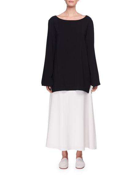 Sorel Bateau-Neck Long-Sleeve Silk Top