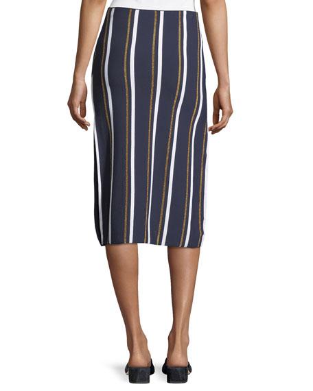 Metallic Stripe Knit Midi Skirt