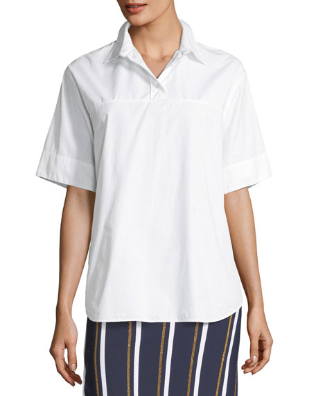 Short-Sleeve Collared Back-Button Oversized Top