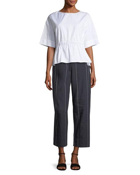 Stripe Wide-Leg Cropped Pants