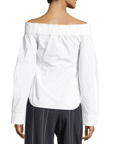 Off-the-Shoulder Long-Sleeve Cotton Top