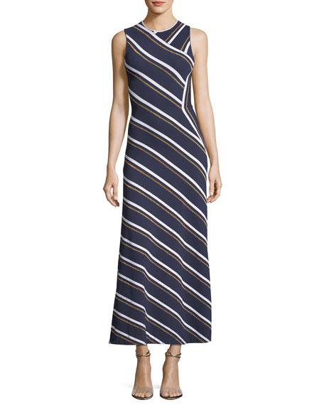 Sleeveless Metallic-Striped Maxi Dress