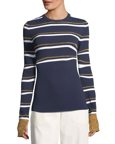 Metallic Stripe Crewneck Sweater