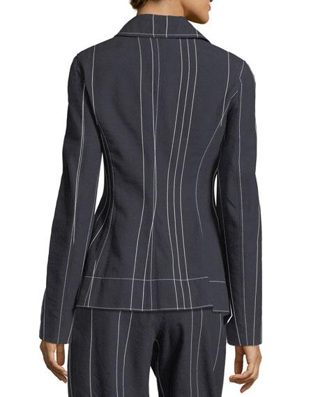Stripe Asymmetric Blazer Jacket
