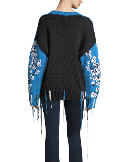 Hand-Knit Intarsia Fringe Sweater