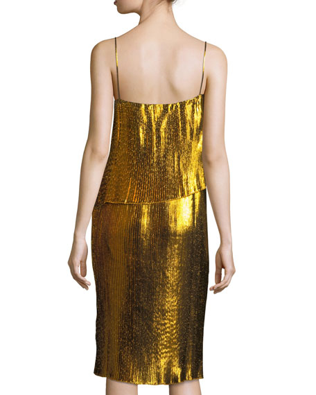 Metallic Plisse Two-Layer Spaghetti-Strap Cocktail Dress