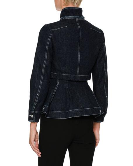 Embroidered-Shoulder Button-Front Layered Denim Jacket