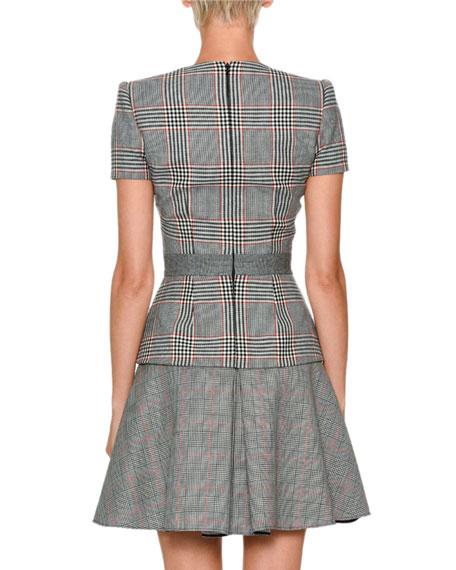 V-Neck Short-Sleeve Mixed-Plaid Dress