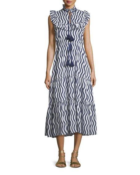 Lila Sleeveless River-Stripe Midi Dress with Tassel-Ties