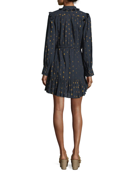 Emma Long-Sleeve Drawstring-Waist Metallic-Dot Mini Cocktail Dress