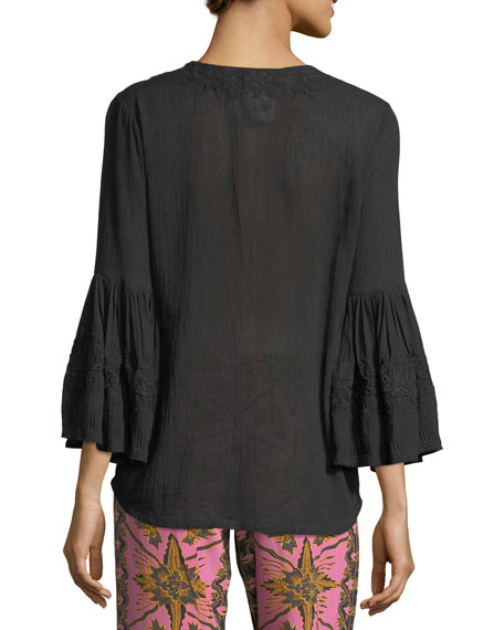Liza Bell-Sleeve Tonal Embroidered Cotton-Gauze Top
