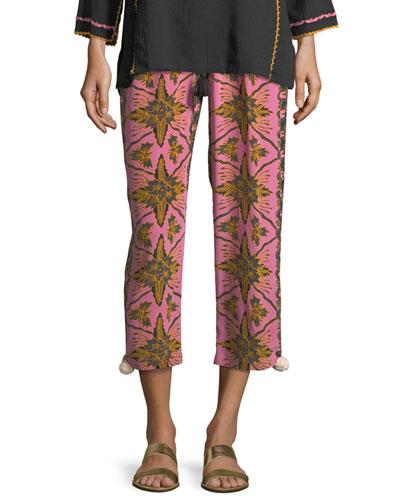 Batik-Print Straight-Leg Cropped Crepe de Chine Pants