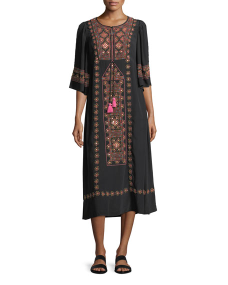 Louise 3/4-Sleeve Floral-Embroidered Long Sleeves