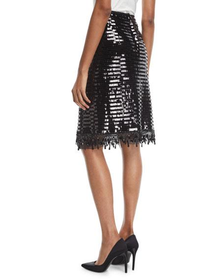 Paillette-Embellished Pencil Skirt