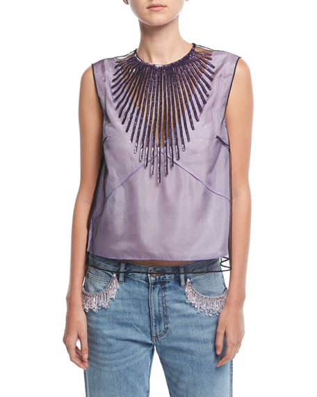 Beaded Tulle Crop Top