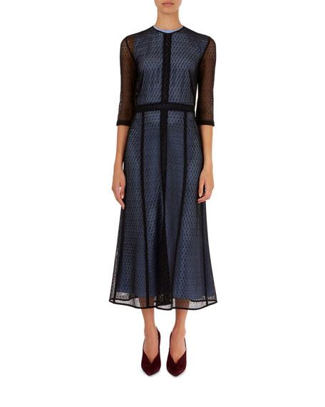 Elbow-Sleeve Lace Midi Dress
