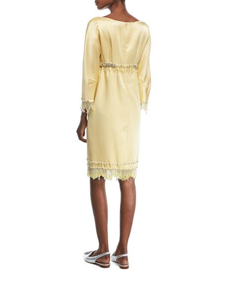Beaded 3/4-Sleeve Satin Cocktail Dress
