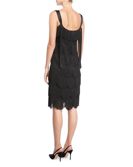Sleeveless Scalloped Fringe Cocktail Dress