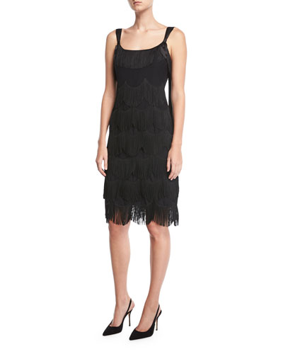 Sleeveless Scalloped Fringe Cocktail Dress